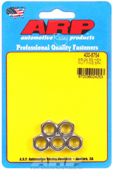 "ARP - ARP4008754 - ARP Bulk Fasteners - 3/8""-24 Stainless Steel Hex Head - 5 Pack"