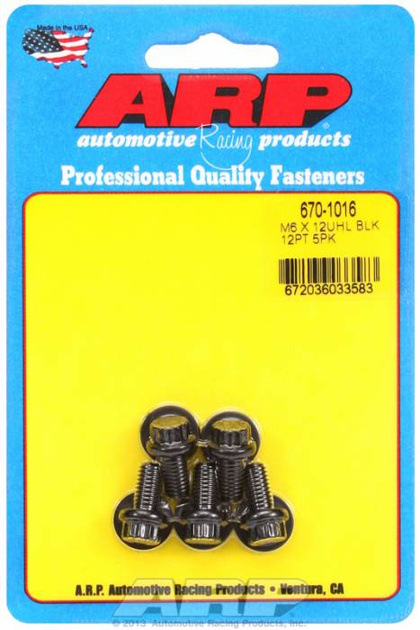 ARP - ARP6701016 - M6X1.00X12 12PT BLAC