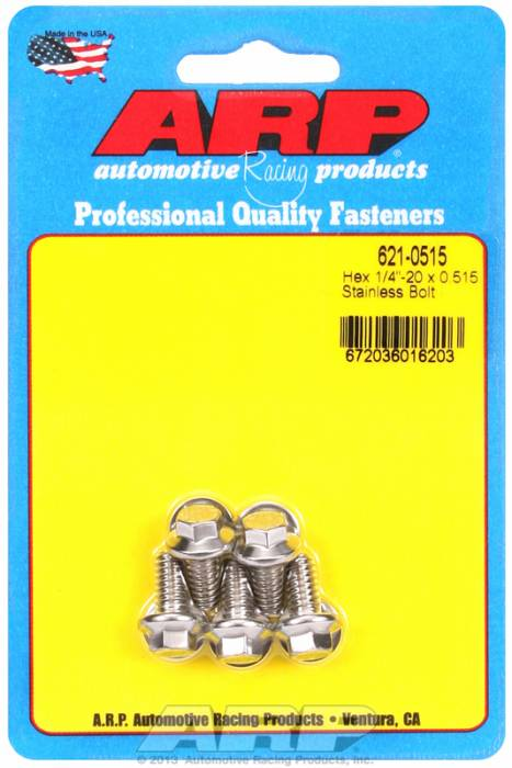 "ARP - ARP6210515 - ARP SAE Bolt Kit, 1/4-20, 0.515 UHL, 0.515 Thread Length, 5/16"" Wrenching, Stainless Steel, Hex Head, 5 Pack"
