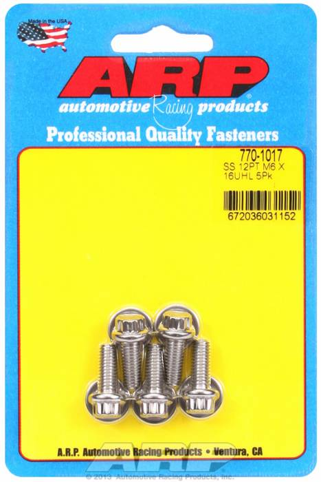 ARP - ARP7701017 - ARP Metric Bolt Kit, M6 x 1.00, 16mm UHL, 16mm Thread Length, 8mm Wrenching, Stainless Steel, 12 Point Head, 5 Pack