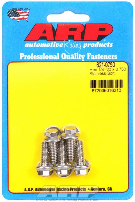 "ARP - ARP6210750 - ARP SAE Bolt Kit, 1/4-20, 0.750 UHL, 0.750 Thread Length, 5/16"" Wrenching, Stainless Steel, Hex Head, 5 Pack"