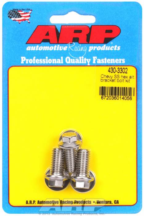 ARP - ARP4303302 -ARP Alternator Bracket Bolt Kit, Chevy V8's, Stainless Steel- 6 Point Head