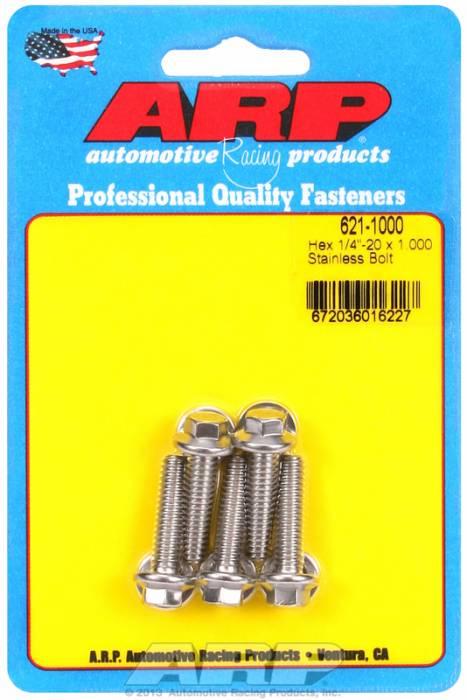 """ARP - ARP6211000 - ARP Bulk Fasteners 1/4""""-20 X 1.00"""" Stainless, Hex Head, 7/16"""" Wrenching - 5 Pack"""