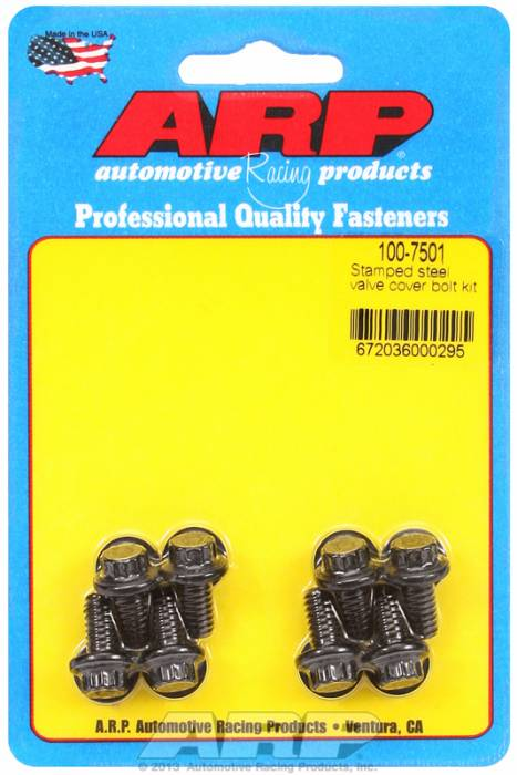 "ARP - ARP1007501 - ARP Valve Cover Bolt Kit - For Stamped Steel Covers- 1/4""-20 X .515"" - Black Oxide- 12 Point Head-Qty.-8"