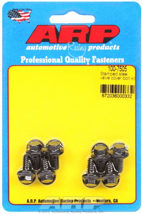 """ARP - ARP1007505 - ARP Valve Cover Bolt Kit - For Stamped Steel Covers- 1/4""""-20 X .515"""" - Black Oxide- 6 Point Head-Qty.-8"""