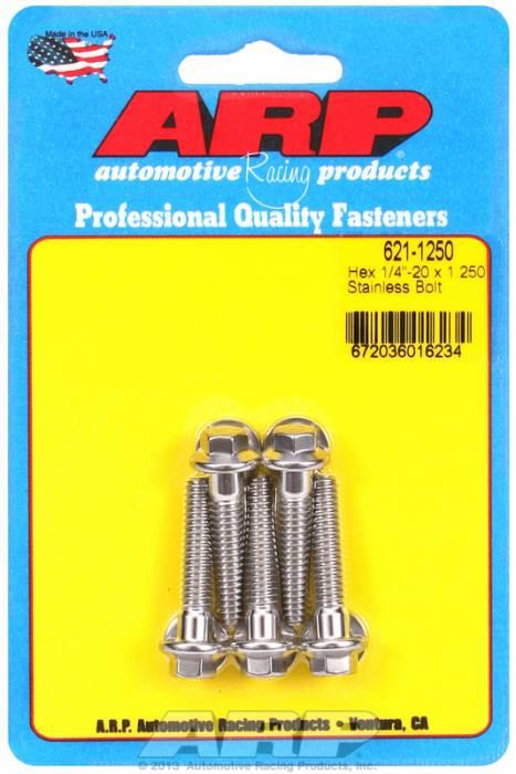 ARP - ARP6211250 - ARP SAE Bolt Kit, 1/4-20, 1.25 Uhl, 1.000 Thread Length, 0.250 Grip Length, Stainless Steel, Hex Head, 5 Pack