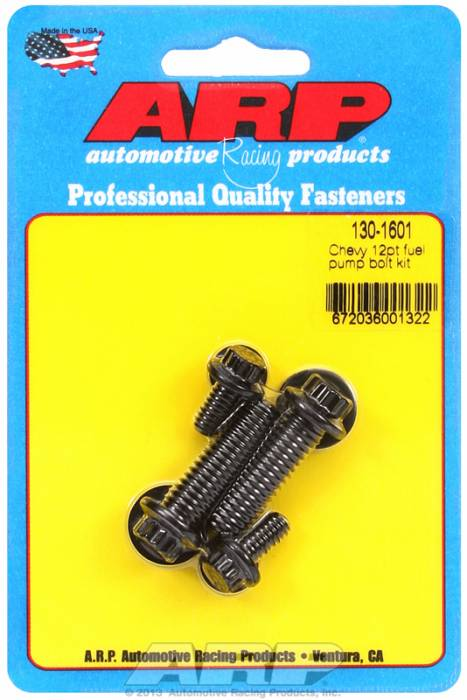 ARP - ARP1301601 - ARP Fuel Pump Bolt Kit- Chevy- Black Oxide- 12 Point Head
