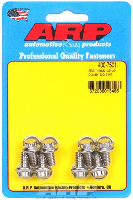 "ARP - ARP4007501 - ARP Valve Cover Bolt Kit - For Stamped Steel Covers- 1/4""-20 X .515"" - Stainless Steel - 12 Point Head-Qty.-8"