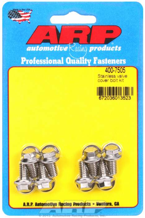 """ARP - ARP4007505 - ARP Valve Cover Bolt Kit - For Stamped Steel Covers- 1/4""""-20 X .515"""" - Stainless Steel - 6 Point Head-Qty.-8"""