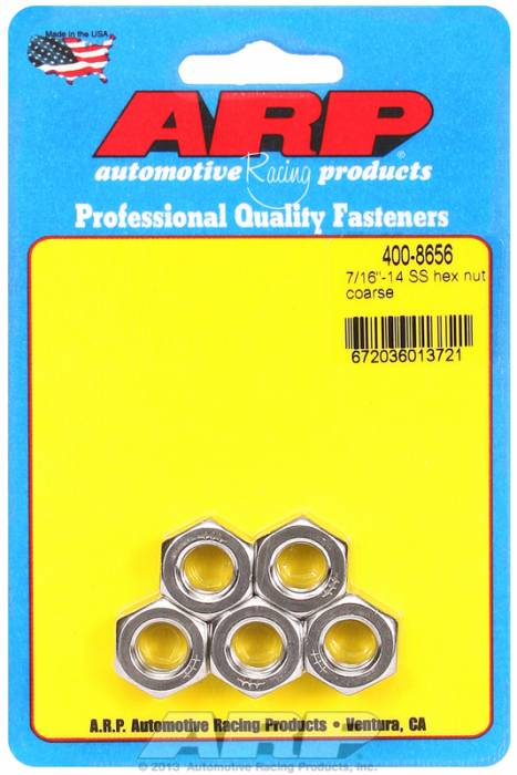 "ARP - ARP4008656 - ARP Bulk Fasteners - 7/16""-14 Stainless Steel Hex Head - 5 Pack"
