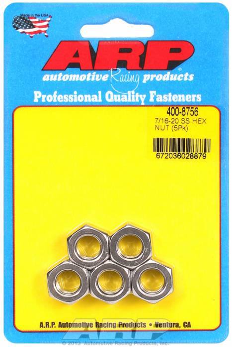 "ARP - ARP4008756 - ARP Bulk Fasteners - 7/16""-20 Stainless Steel Hex Head - 5 Pack"