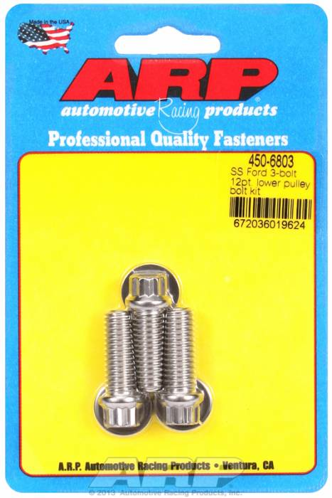 """ARP - ARP4506803 - ARP Ford Lower Pulley Bolt Kit, 12 Point, Stainless Steel, 3 Piece, 1.000"""" Uhl, 3/8-16"""