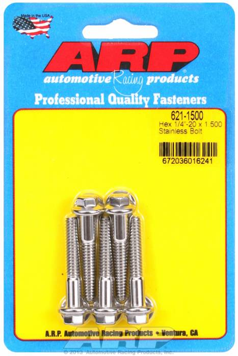 "ARP - ARP6211500 -  ARP Bulk Fasteners 1/4""-20 X 1.500"" Stainless, Hex Head, 7/16"" Wrenching - 5 Pack"