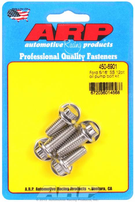 "ARP - ARP4506901 - ARP Oil Pump Bolt Kit- Ford - 3/8"" & 5/16"" (4 Piece Kit) - Stainless- 12 Point"