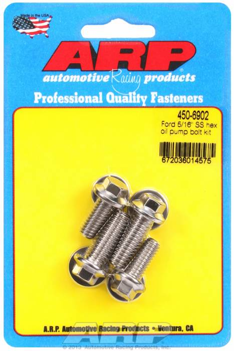 "ARP - ARP4506902 - ARP Oil Pump Bolt Kit- Ford - 3/8"" & 5/16"" (4 Piece Kit) - Stainless- 6 Point"