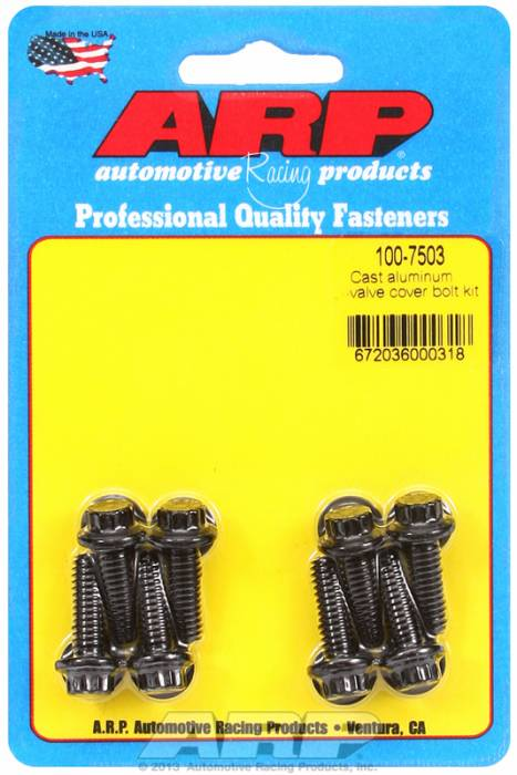 "ARP - ARP1007503 - ARP Valve Cover Bolt Kit - For Cast Aluminum Covers- 1/4""-20 X .812"" - Black Oxide - 12 Point Head-Qty.-8"