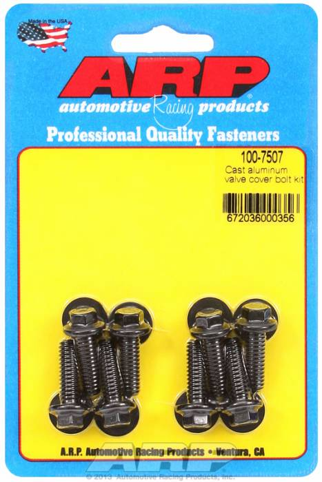 "ARP - ARP1007507 - ARP Valve Cover Bolt Kit - For Cast Aluminum Covers- 1/4""-20 X .812"" - Black Oxide - 6 Point Head-Qty.-8"