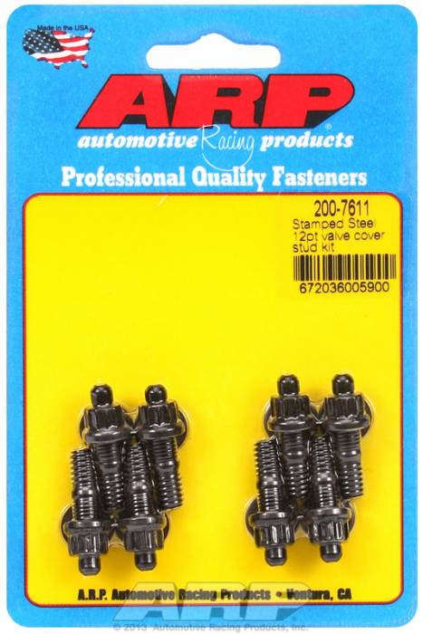 "ARP - ARP2007611 - ARP Valve Cover Stud  Kit - For Cast Stamped Steel Covers- 1/4""-20 X 1.170"" - Black Oxide - 12 Point Head-Qty.-8."