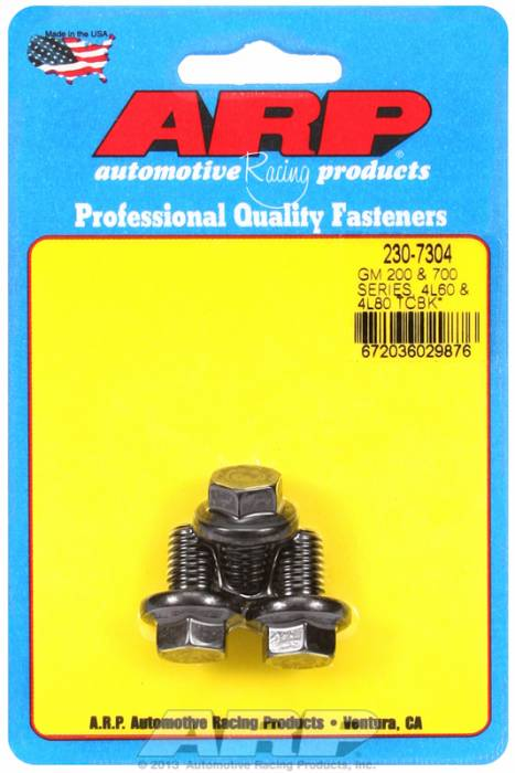 ARP - ARP2307304 -ARP Heavy Duty Torque Converter Bolt Kit- Gm 200R4, 700R4, 4L60, 4L60E, 4L80E  3 Piece Car Kit - M10X1.5 X .590 Nut And Bolt - Black Oxide, 12 Point
