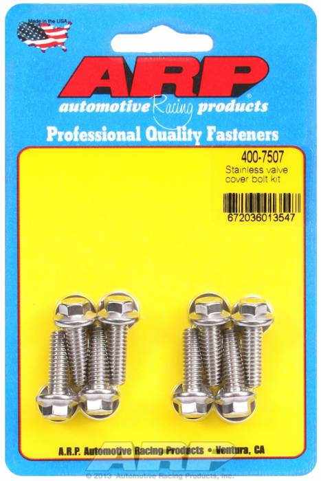 """ARP - ARP 400-7507 - ARP Valve Cover Bolt Kit - For Cast Aluminum Covers- 1/4""""-20 X .812"""" - Stainless Steel - 6 Point Head-Qty.-8"""