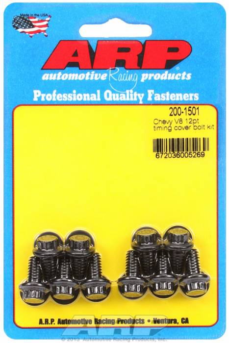 ARP - ARP2001501 - ARP Timing Cover Bolt Kit- Chevy V8'S -Black Oxide- 12 Point Head
