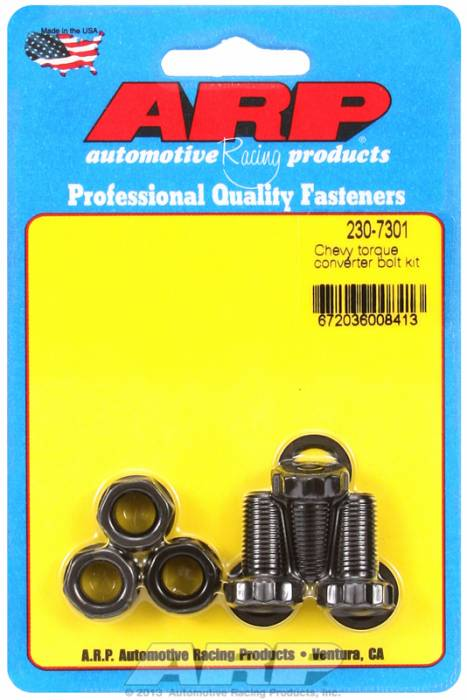 """ARP - ARP2307301 -ARP Heavy Duty Torque Converter Bolt Kit- GM TH 350 With 11"""" Converter - 3/8""""-24 X .750 Nut And Bolt - Black Oxide, 12 Point"""