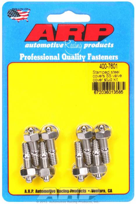 "ARP - ARP4007601 - ARP Valve Cover Stud  Kit - For Cast Stamped Steel Covers- 1/4""-20 X 1.170"" - Stainless Steel - 6 Point Head-Qty.-8"