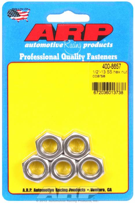 "ARP - ARP4008657 - ARP Bulk Fasteners - 1/2""-13 Stainless Steel Hex Head - 5 Pack"
