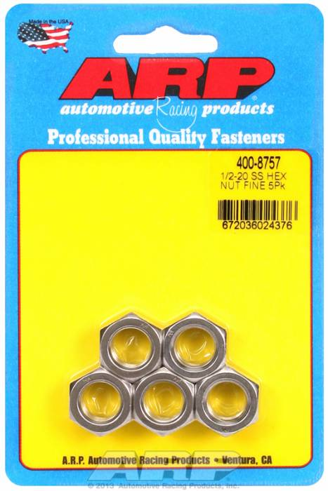 "ARP - ARP4008757 - ARP Bulk Fasteners - 1/2""-20 Stainless Steel Hex Head - 5 Pack"