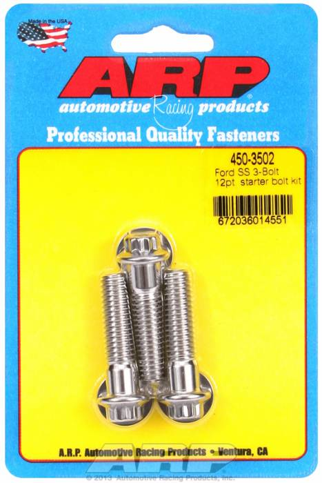"""ARP - ARP4503502 - ARP Stainless Starter Bolts - Ford V8 - With Stock Starter - 1.50"""" Uhl, 3/8-16, 12 Point Head - Package Of 3"""