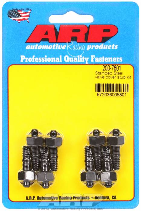 "ARP - ARP2007601 - ARP Valve Cover Stud  Kit - For Cast Stamped Steel Covers- 1/4""-20 X 1.170"" - Black Oxide - 6 Point Head-Qty.-8"