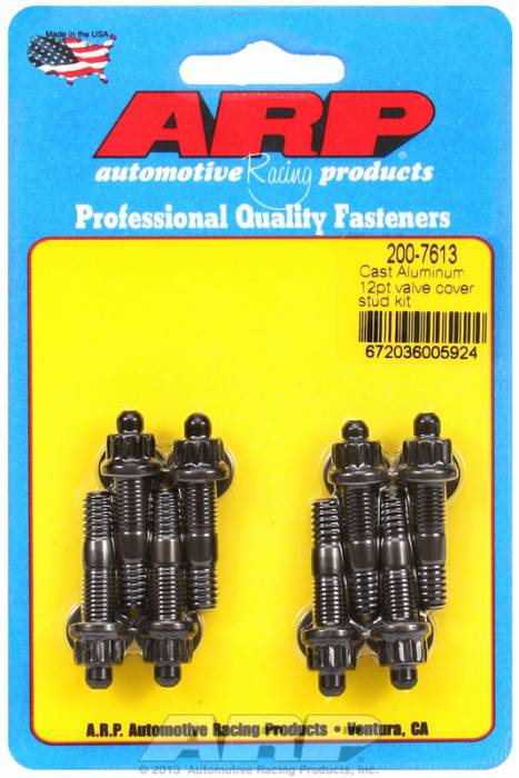 "ARP - ARP2007613 - ARP Valve Cover Stud Kit - For Cast Aluminum Covers- 1/4""-20 X 1.50"" - Black Oxide - 12 Point Head-Qty.-8"