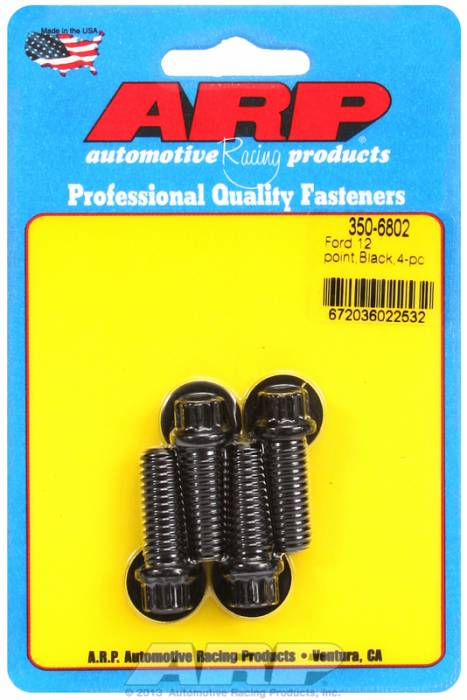 "ARP - ARP3506802 - ARP Ford Lower Pulley Bolt Kit, 12 pt, 4 Pieces, High Performance, 1.000"" UHL, 3/8-16, Black"