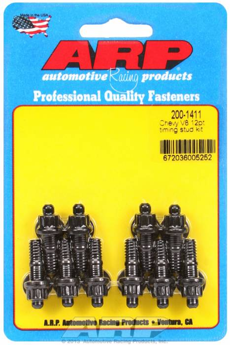 ARP - ARP2001411 - ARP Timing Cover Stud Kit, Chevy V8'S, Black Oxide, 12 Point Head