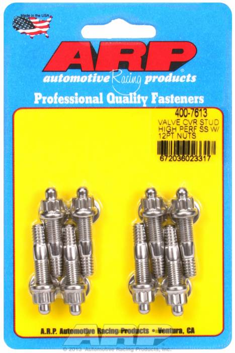 "ARP - ARP4007613 - ARP Valve Cover Stud  Kit - For Cast Aluminum Covers- 1/4""-20 X 1.50"" - Stainless Steel - 12 Point Head-Qty.-8"
