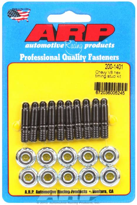 ARP - ARP2001401 - ARP Timing Cover Stud Kit, Chevy V8's, Black Oxide, Hex Head