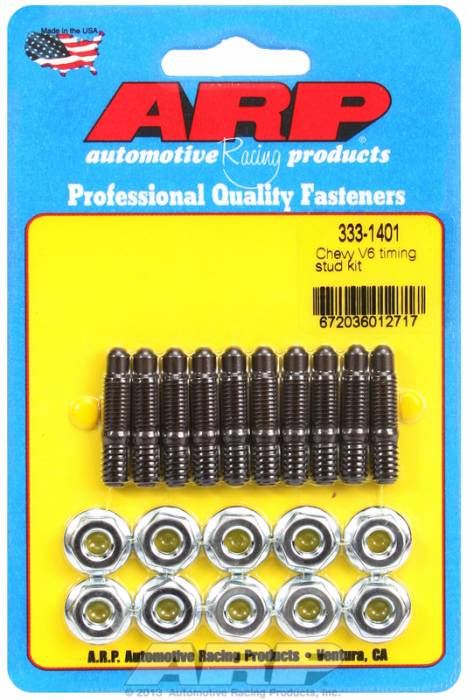 ARP - ARP3331401 - ARP Timing Cover Stud Kit, Chevy 90 Degree V6, Black Oxide, Hex Head with Flanged Lock Nut