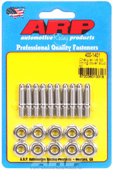 ARP - ARP4001401 - ARP Timing Cover Stud Kit, Chevy V8's, Stainless Steel, Hex Head