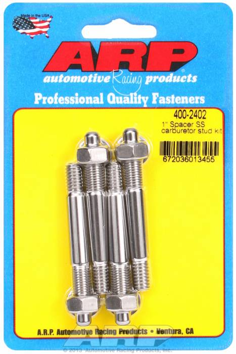 "ARP - ARP4002402 - ARP Carburetor Stud Kit - 5/16"", 2.70"" Overall Length, Stainless Steel."