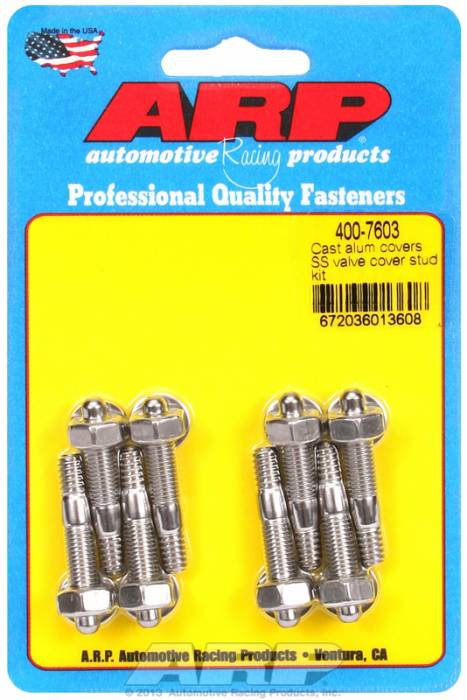 "ARP - ARP4007603 - ARP Valve Cover Stud Kit - For Cast Aluminum Covers- 1/4""-20 X 1.50"" - Stainless Steel - 6 Point Head-Qty.-8"