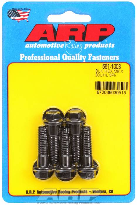 ARP - ARP6611003 - 8mm x 1.25 Black Oxide Hex Head Bolts, 30mm UHL, Pack of 5, Includes Washers