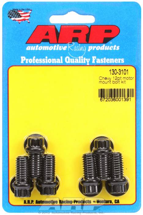 ARP - ARP1303101 - ARP Motor Mount Bolt Kit- Chevy, Mount To Block- Black Oxide- 12 Point Head