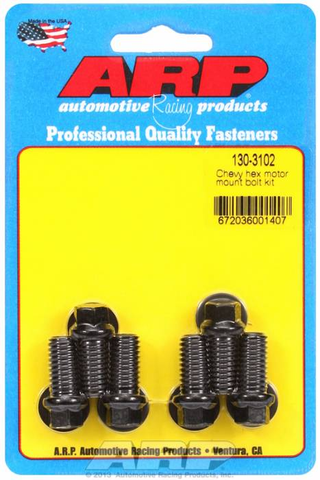 ARP - ARP1303102 - ARP Motor Mount Bolt Kit- Chevy, Mount To Block- Black Oxide- 6 Point Head