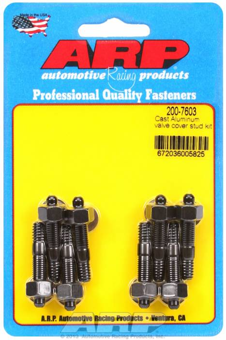 "ARP - ARP2007603 - ARP Valve Cover Stud Kit - For Cast Aluminum Covers- 1/4""-20 X 1.50"" - Black Oxide - 6 Point Head-Qty.-8"