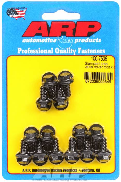 "ARP - ARP1007506 - ARP Valve Cover Bolt Kit - For Stamped Steel Covers- 1/4""-20 X .515"" - Black Oxide- 6 Point Head-Qty.-14"