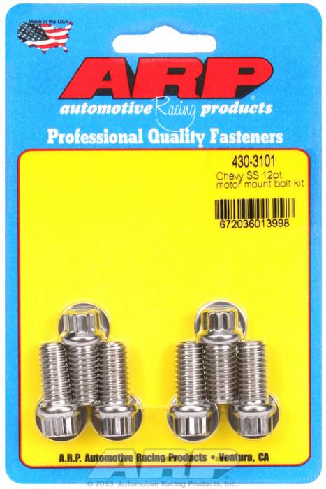 ARP - ARP4303101 - ARP Motor Mount Bolt Kit- Chevy, Mount To Block- Stainless Steel- 12 Point Head