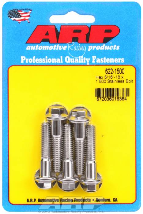 "ARP - ARP6221500 - ARP Sae Bolt Kit, 5/16-18, 1.500 Uhl, 1.000 Thread Length, 0.500 Grip Length, 3/8"" Wrenching, Stainless Steel, Hex Head, 5 Pack"