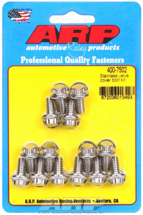 "ARP - ARP4007502 -ARP Valve Cover Bolt Kit - For Stamped Steel Covers- 1/4""-20 X .515"" - Stainless Steel - 12 Point Head-Qty.-14"