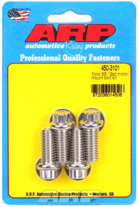 ARP - ARP4503101 - ARP Motor Mount Bolt Kit- Ford Windsor-Stainless Steel- 12 Point Head