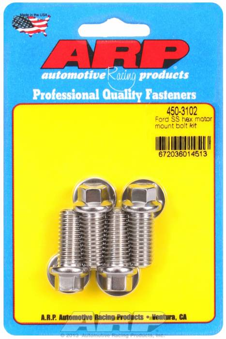 ARP - ARP4503102 - ARP Motor Mount Bolt Kit- Ford Windsor-Stainless Steel- 6 Point Head